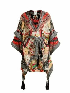 Camilla - Belted Floral Print Silk Dress - Womens - Red Multi