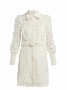 Zimmermann - Heathers Belted Broderie Anglaise Mini Dress - Womens - Ivory