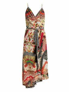 Camilla - Floral Print Silk Crepe Wrap Dress - Womens - Red Multi