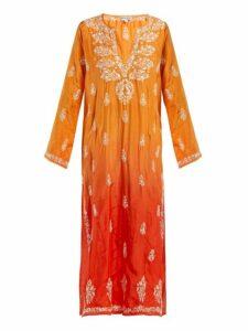 Juliet Dunn - Sequin Embroidered Silk Kaftan - Womens - Orange Multi