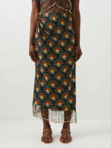 Muzungu Sisters - Lotus Hand Embroidered Cotton Kaftan - Womens - Orange Multi