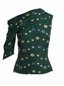 Peter Pilotto - One Shoulder Fil Coupé Crepe Top - Womens - Green Multi