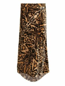Raey - Bias Godet Tiger Print Silk Satin Slip Midi Skirt - Womens - Brown Multi