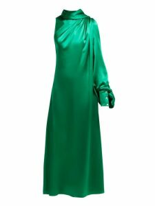 Hillier Bartley - One Shoulder Gathered Silk Satin Dress - Womens - Green