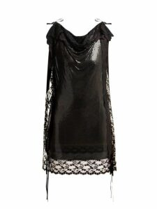 Christopher Kane - Lace Trim Chainmail Mini Dress - Womens - Black