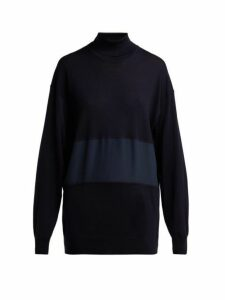 Chloé - Roll Neck Silk Panel Wool Sweater - Womens - Navy