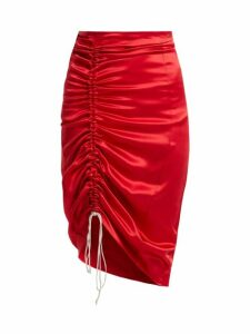 Hillier Bartley - Gathered Silk Satin Pencil Skirt - Womens - Red