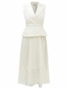 Batsheva - Ruffle Velvet Prairie Midi Dress - Womens - Red