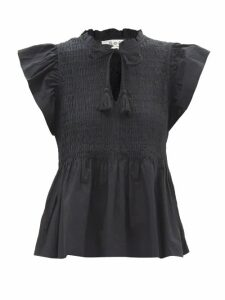 Christopher Kane - Dot Dash Single Breasted Velvet Coat - Womens - Black