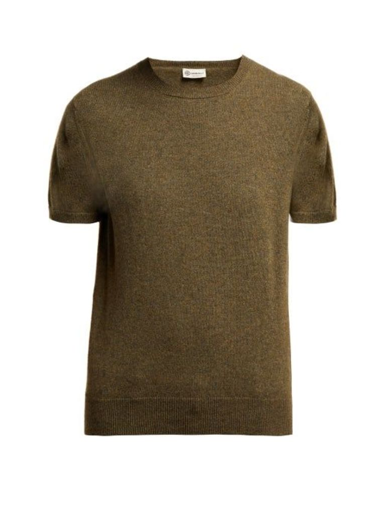 Connolly - Short Sleeved Fine Knit Cashmere Sweater - Womens - Dark Green