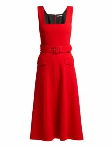 Emilia Wickstead - Petra Panelled Wool Crepe Midi Dress - Womens - Red
