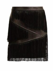 Versace - Fringed Leather Mini Skirt - Womens - Black