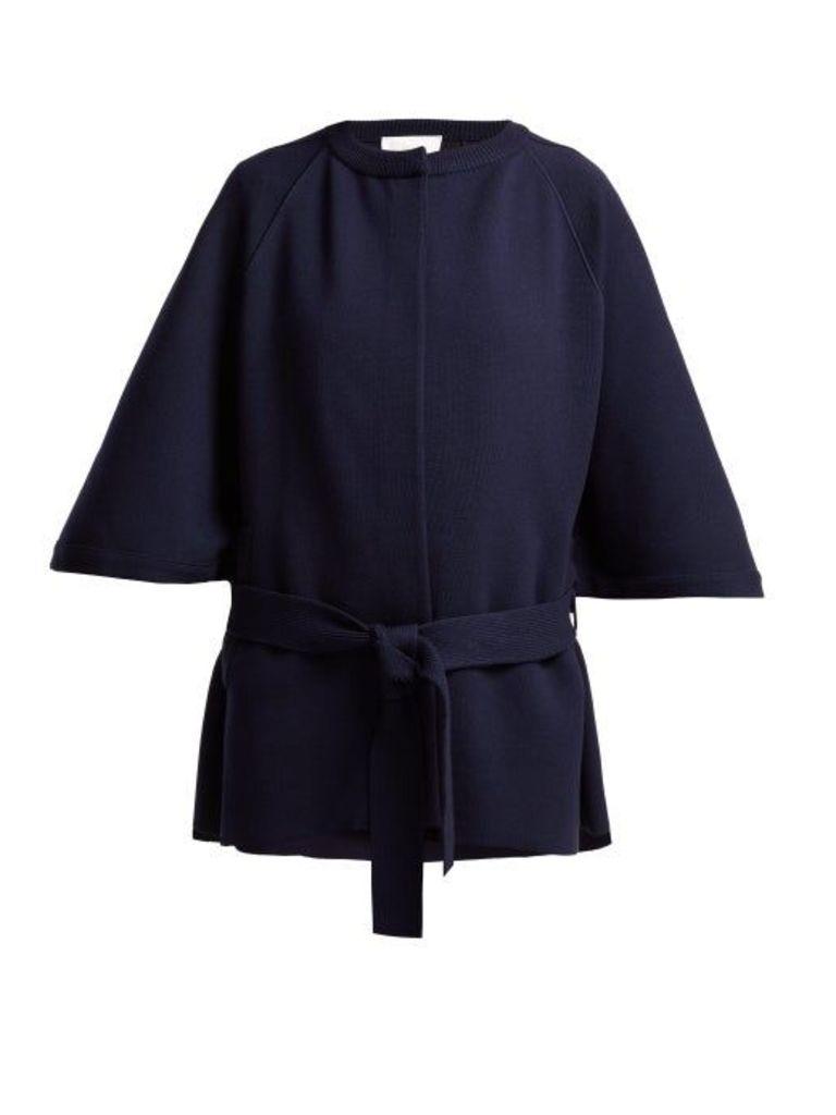 Chloé - Intarsia Knit Wool Blend Cape Coat - Womens - Navy