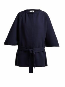 Chloé - Intarsia Knit Wool Blend Cape Coat - Womens - Navy