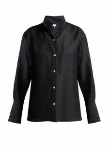 Frame - Stand Collar Linen Blend Shirt - Womens - Navy