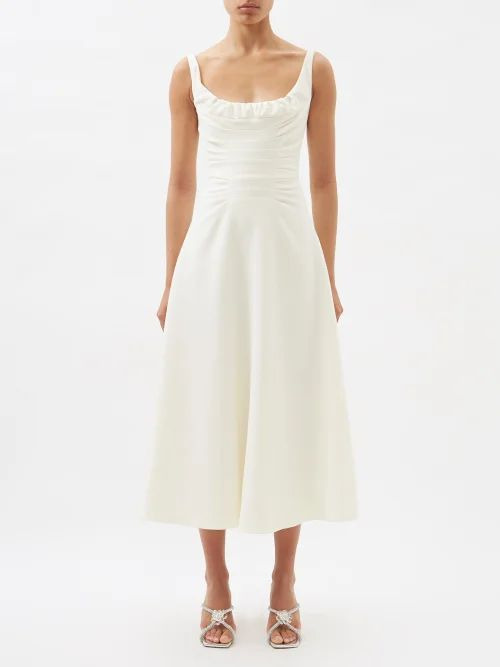 Self-portrait - One Shoulder Star Embellished Crepe Top - Womens - Navy