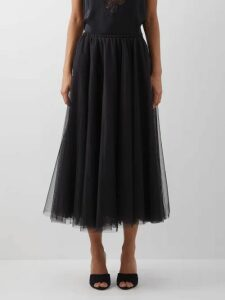 Self-portrait - Spiral Lace Midi Dress - Womens - Black