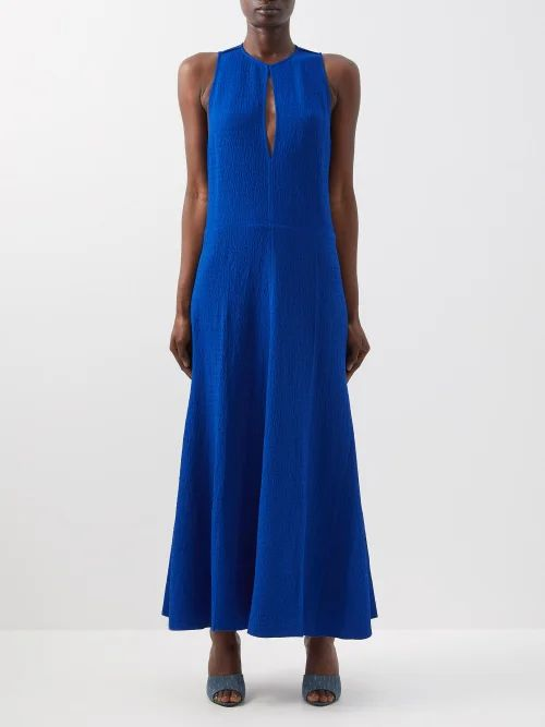 Self-portrait - Sequinned Star Tulle And Crepe Dress - Womens - Navy