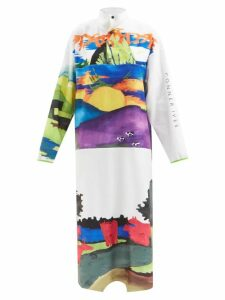 Calvin Klein 205w39nyc - Wavy Stripe Print Pleated Midi Skirt - Womens - Blue Multi