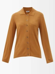Batsheva - Ruffled Coated Cotton Prairie Midi Dress - Womens - Gold