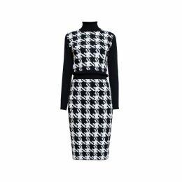 Rumour London - Lina Houndstooth Merino Wool Knitted Dress
