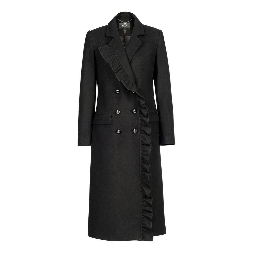 Nissa - Coat with V Neckline & Mettalic Buttons