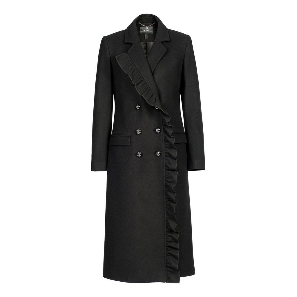 Nissa - Coat with V Neckline & Mettalic Buttons