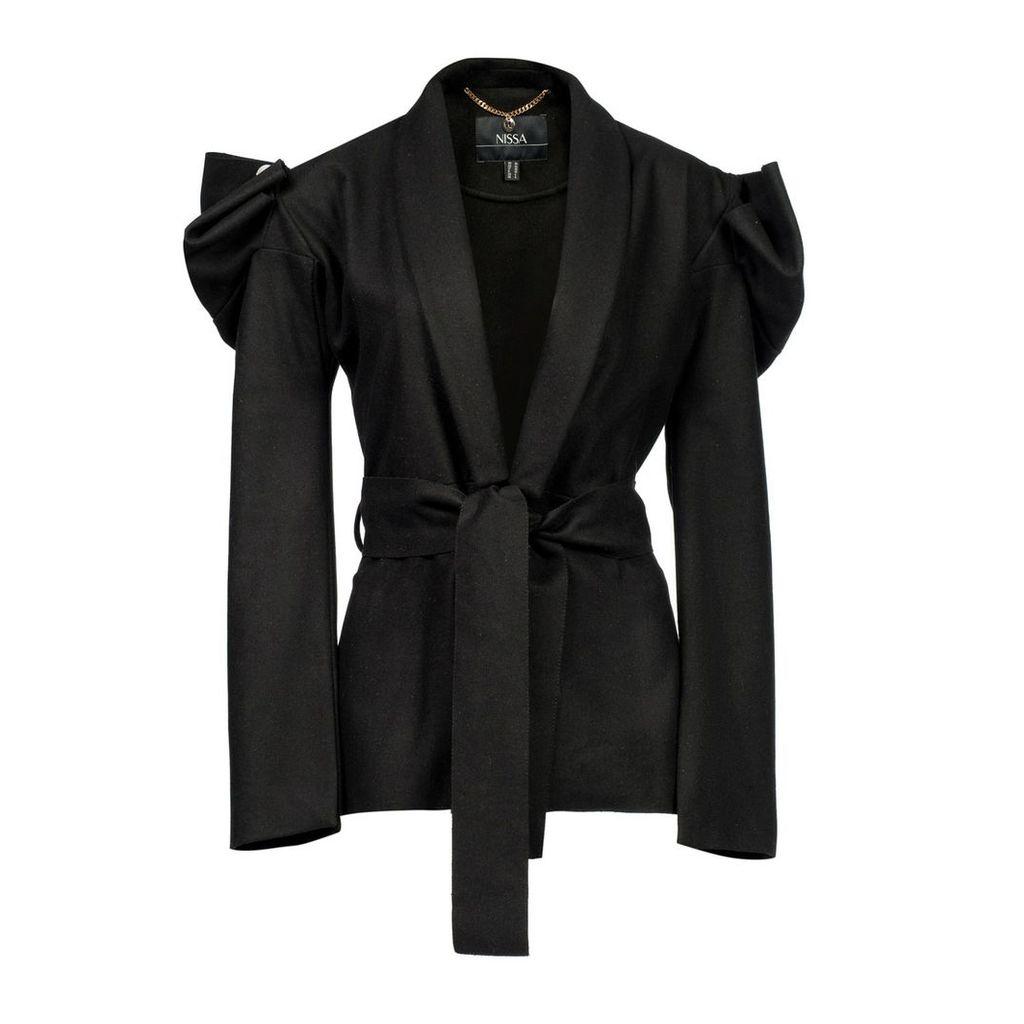 Nissa - Elegant Coat with Waist Belt & Puffed Sleevs
