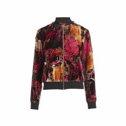 WtR - Backdrop Red Print Velvet Bomber Jacket