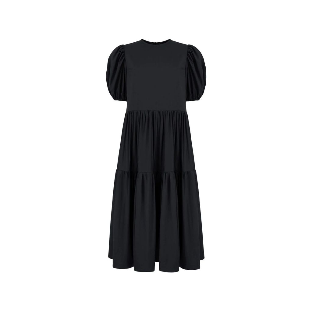 PAISIE - High Neck Blouse With Back Neck Tie In Indigo
