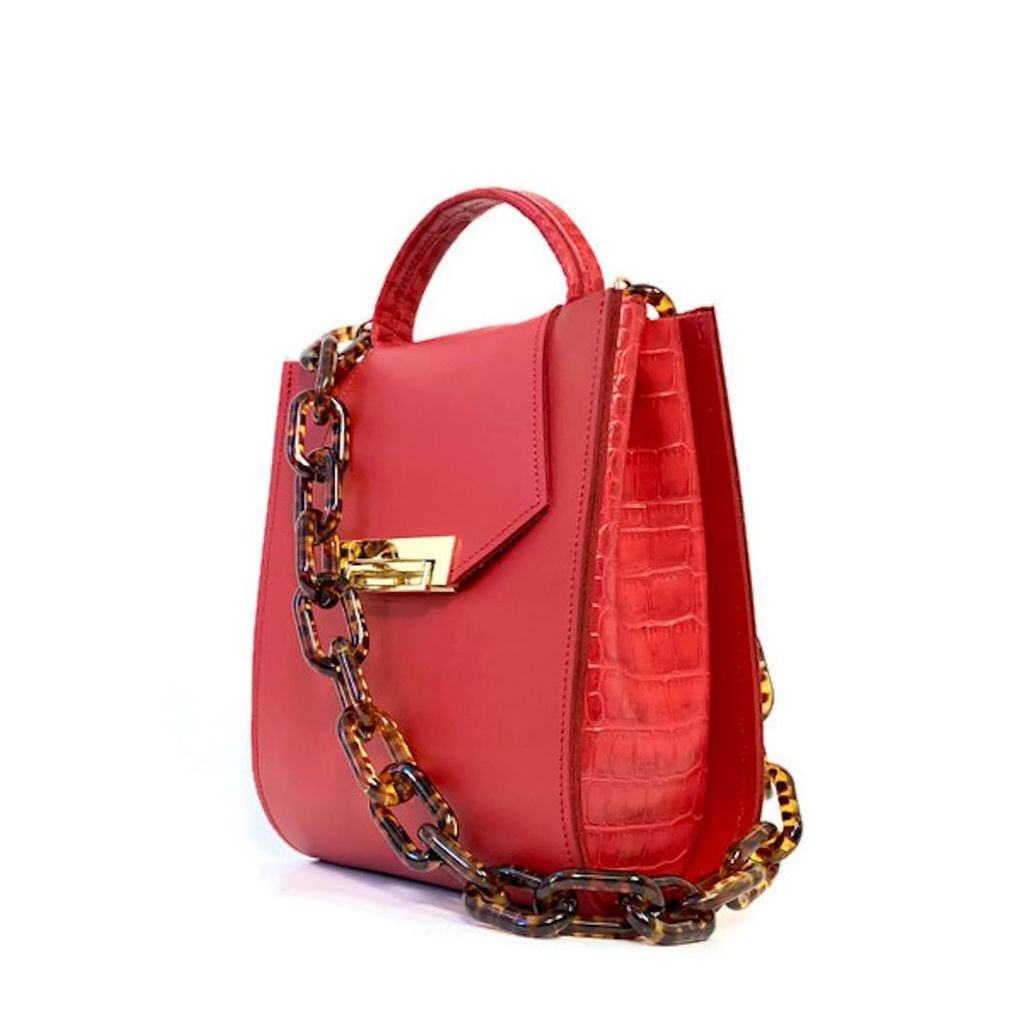 Angela Valentine Handbags - Romi Croc Embossed Bag In Saffron Red