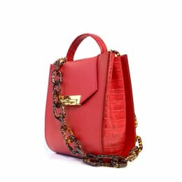 Angela Valentine Handbags - Romi Croc Embossed Bag In Saffron Red