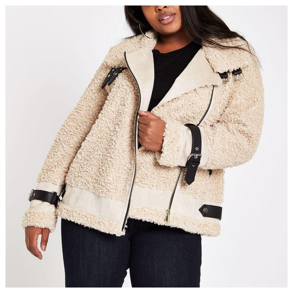 Womens Plus Beige borg aviator jacket