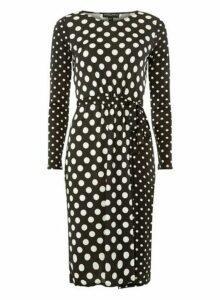 Womens **Black Spot Mix And Match Spotted Dress- Black, Black