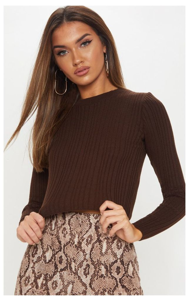 Chocolate Long Sleeve Knitted Top, Chocolate