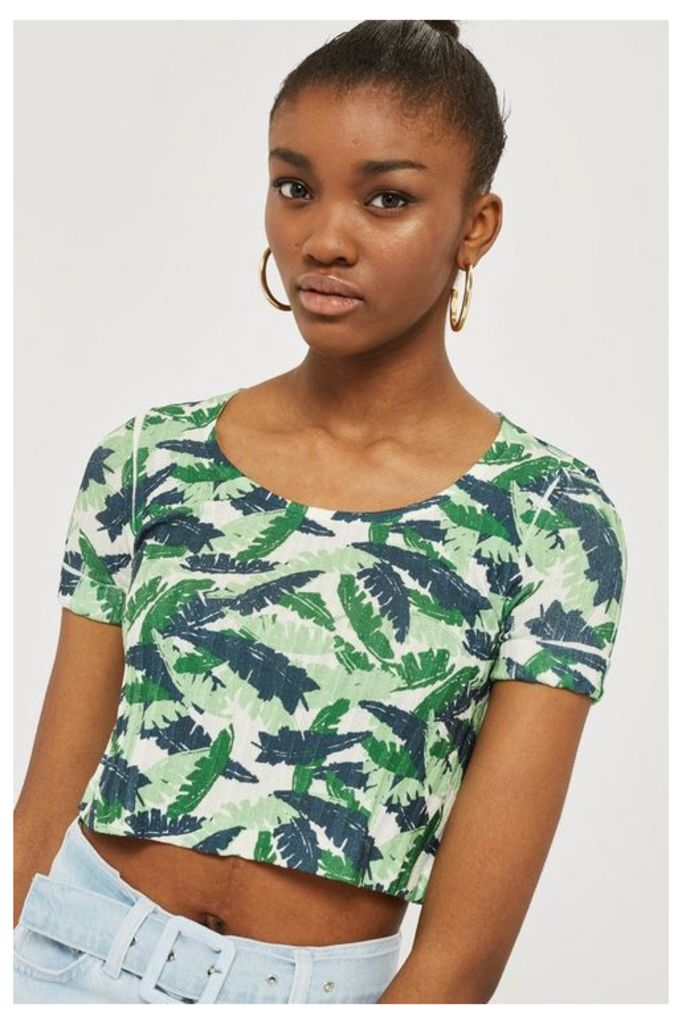 Womens Tropical Print Knitted Top - Multi, Multi