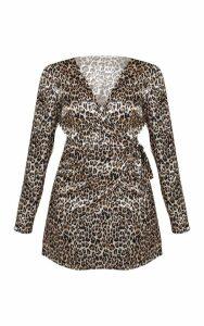 Gold Satin Leopard Print Wrap Shift Dress, Yellow
