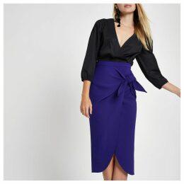 Womens Blue twist front pencil skirt