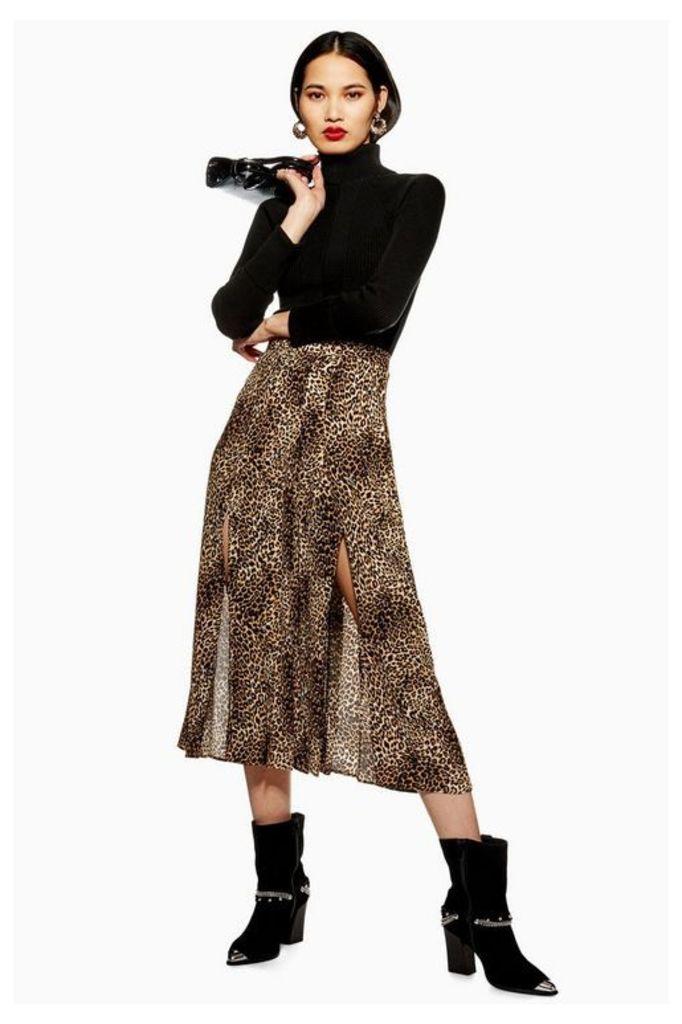 Womens Leopard Print Box Pleat Midi Skirt - Multi, Multi