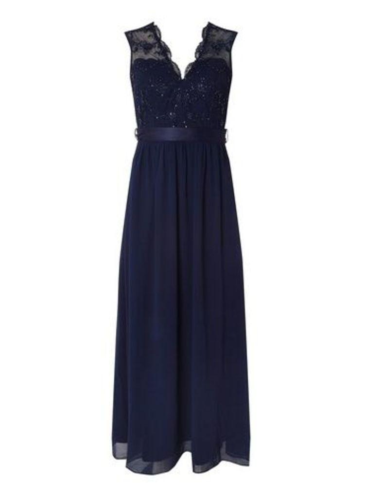 Womens **Showcase Navy 'Mila' Sequin Maxi Dress- Blue, Blue