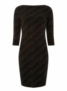 Womens Black Glitter Slash Neck Bodycon Dress- Multi Colour, Multi Colour