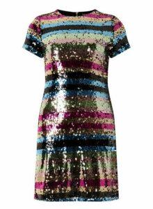 Womens Multi Colour Premium Sequin Embellished Striped Shift Dress- Multi Colour, Multi Colour