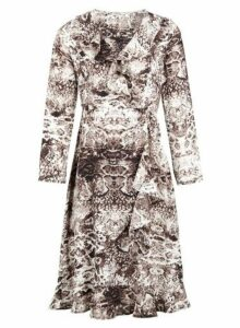 Womens *Izabel London Brown Snake Print Wrap Dress, Brown