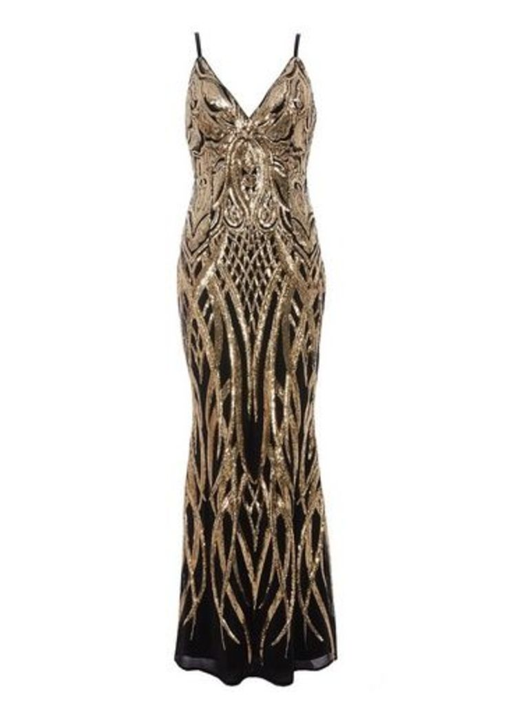 Womens *Quiz Black V-Neck Fishtail Dress- Black, Black