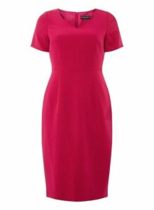 Womens Pink Notch Neck Pencil Dress- Pink, Pink
