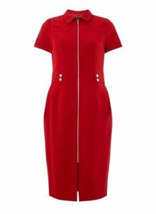 Womens Red Zip Front Pencil Dress- Red, Red