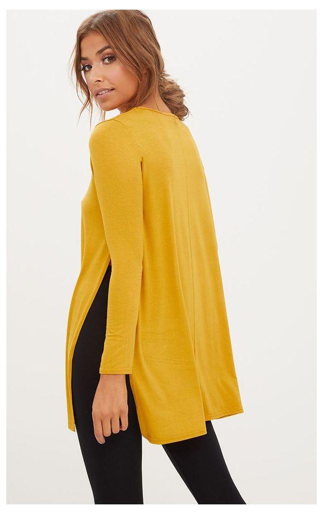 Basic Mustard Longsleeve Side Split Top, Yellow