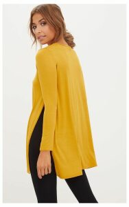 Basic Mustard Longsleeve Side Split Top, Yellow