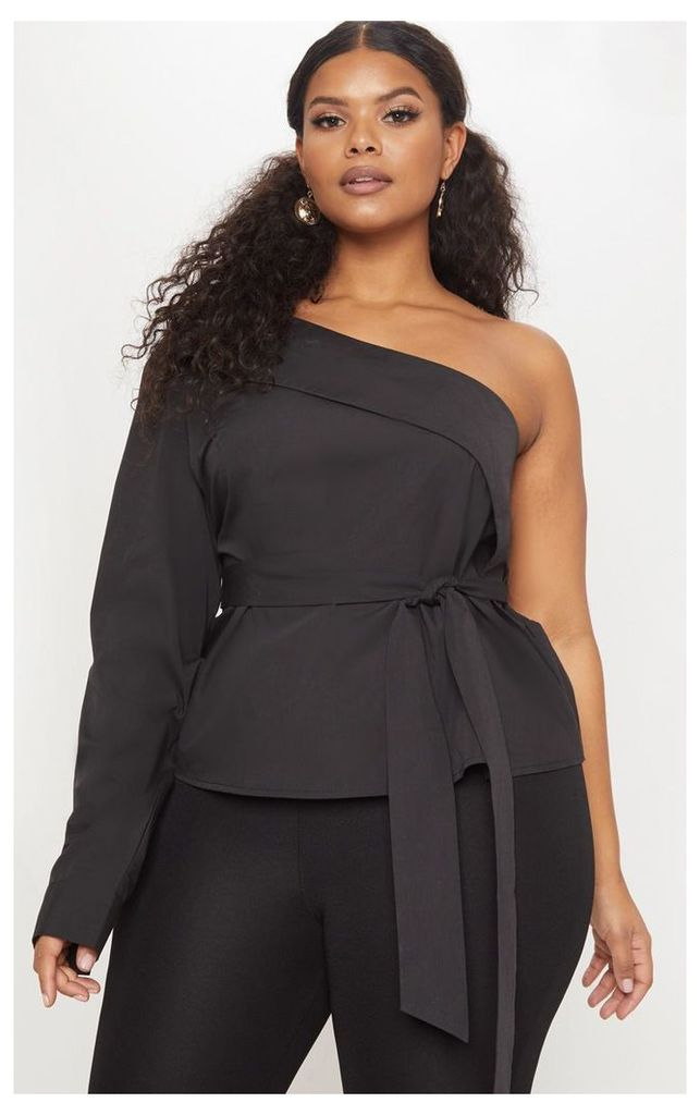 Plus Black One Shoulder Shirt, Black