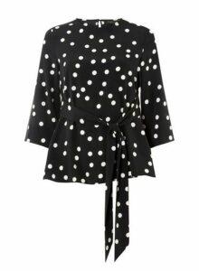 Womens **Black Half Sleeve Spot Top- Black, Black